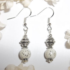 Cream Off White Silver Beaded Earrings Drop Pair